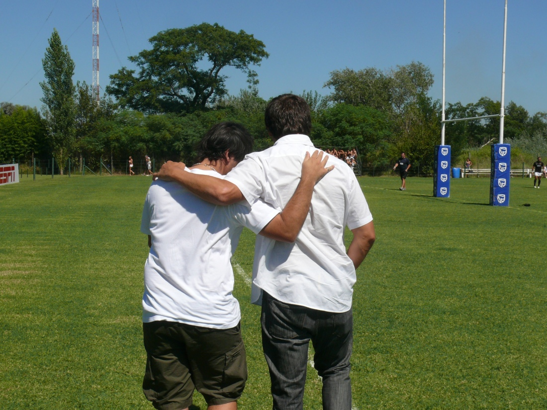 Agustín Pichot y Santiago Phelan, ayer, en Rosario.