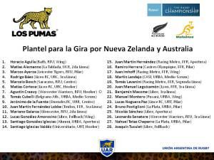 28 Pumas para NZ y AUS 2014